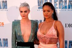 Round On Sunday night they were in LA where Riri wore a bubblegum tulle gown while Cara wore a sheer silver halter neck dress.Actress Cara Delevingne, right, poses with Rihanna. Rihanna, Cara Delevingne Valerian, Raven Color, Cara Delevigne, Icy Girl, Blonde Pixie Cuts, Celebrity Bodies, Crystal Dress, Lifestyle Articles