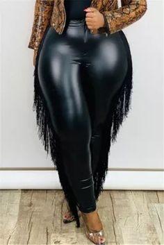 Black Fashion Sexy Skinny Plus Size Leather Trousers Red Fashion, Curvy Fashion, Plus Size Fashion, Fashion Outfits, Skinny Leather Pants, Leather Trousers, Curvy Girl Outfits, Plus Size Outfits, Camouflage Fashion