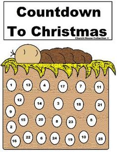Printable countdown to Christmas Baby Jesus Advent Calendar. Comes in black and white so the kids can color baby Jesus.