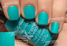 Steph's Closet Photo: Sally Hansen The Real Teal Nail Polish.  I was actually surprised by this one.  For being such a cheap polish, it has a lot of depth and it's really pretty.