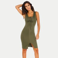 c6a79251e51 NGal Polyester Olive Solid Bodycon Dress
