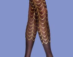 Fashion tights gold printed tights available in S-M by SternTights
