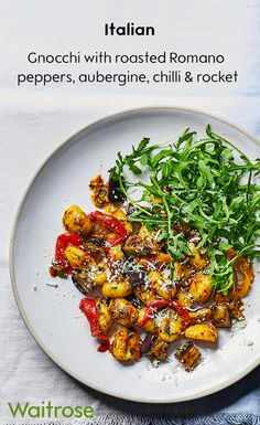 Enjoy a taste of Italy with our fresh gnocchi recipe. Serve with roasted Romano peppers, aubergine, chilli and rocket to finish this flavoursome dish. Cook's tip: Roast a batch of peppers and cut into strips, then keep in a jar of oil in the fridge for up Rocket Recipes, Veg Recipes, Italian Recipes, Vegetarian Recipes, Dinner Recipes, Cooking Recipes, Healthy Recipes, Vegetarian Dinners, Recipies