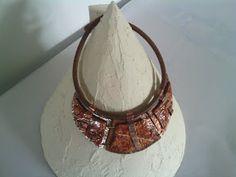 Creazioni e manufatti di Aldina: girocollo rame e pasta fimo su cordoncino di cuoio