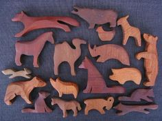 Wooden animals, carved, Steiner, Waldorf, toys