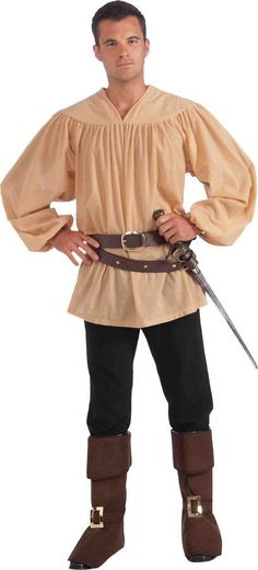 A great accessory that can be used with many costumes. Beige colored medieval shirt. One size fits most adults.