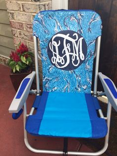 Personalized Beach Chairs hand painted lilly pulitzer inspired monogram beach chair