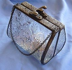 "Rare shape, deeply carved ""ice berg"" w/ornate brass frame - #vintage #lucite #handbags"