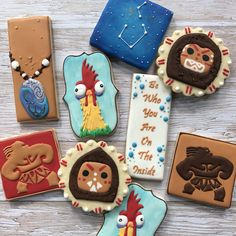 Disney Moana Decorated cookies By Sweet Jenny Belle Ideas for Hei Hei, Maui, Moana necklace and more