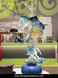 Team Australia's sugar showpiece - Coupe du Monde de la Patisserie - The Chicago School of Mold Making Pulled Sugar Art, Chocolate Showpiece, Chocolate Work, Sugar Love, Food Sculpture, Isomalt, Chocolate Sculptures, Candy Art, Sugar Candy