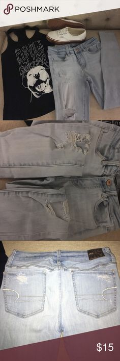 American Eagle stretch skinny jeans American Eagle legging jeans. LOTS of stretch! They were made with holes!! Perfect condition no stains. Light wash. American Eagle Outfitters Jeans Skinny