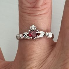 January Birthstone Sterling Silver Claddagh with Garnet CZ Heart Toe Ring