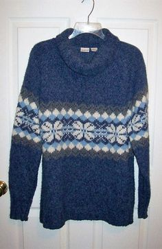 Vintage Ladies Blue & White Cowl Neck Ski Sweater by Northcrest Large Only 7 USD by SusOriginals on Etsy
