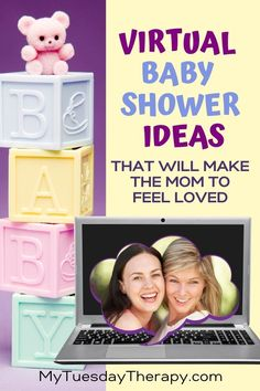 Virtual Baby Shower Ideas That Make the Mom to Be Feel Loved. Sweet ideas for a long distance baby shower online. Baby shower on a budget. Baby Shower Games Unique, Cheap Baby Shower, Baby Shower Signs, Baby Boy Shower, Baby Showers, Baby Shower Activities, Baby Shower Printables, Baby Shower Virtual, Juegos Baby