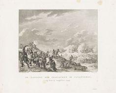 Reinier Vinkeles | Landing van de Britten bij Callantsoog, 1799, Reinier Vinkeles, François Bohn, 1800 - 1802 | De landing van de Britse invasiemacht aan de kust bij Callantsoog, 27 augustus 1799. Op de voorgrond vuren de Bataafse soldaten op de landingstroepen, een gewonde militair wordt weggedragen.