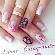 Hermoso floral Cute Nail Art, Cute Nails, Pretty Nails, My Nails, Nail Designs Spring, Nail Art Designs, Nails Design, Nancy Nails, Bright Nails