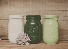 Painted mason jars. St Patrick's day decor. Green jars. by StyleJarsandCans, $26.00
