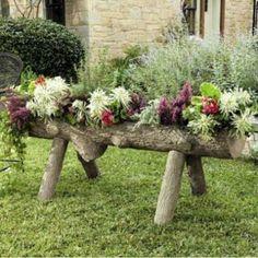 Raised log planter