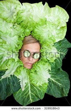 Cute woman with salad leaves arranged around her head. Can be used for healthy food concept - Shutterstock Premier Reaction Pictures, Funny Pictures, Laughing Funny, Dankest Memes, Funny Memes, Stock Pictures, Stock Photos, Ad Of The World, Draw The Squad