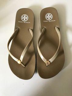 c96a493566cb3a Tory Burch Tan Flip Flop Sandal Size 8 with Logo Stud  fashion  clothing