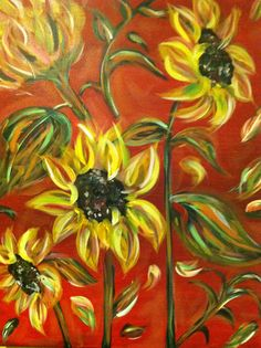 "Sunflowers on Red--2012--Miami--""Painting with a Twist"""