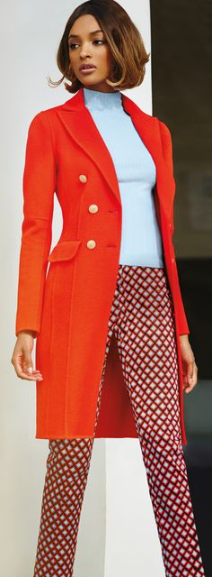The #StJohnKnits double breasted red cashmere coat is the perfect transitional outfit | sjk.com