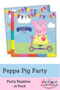 Peppa Pig napkins, perfect to wrap birthday cake in and clear up after your own little Peppa or George! The napkins feature Peppa and all her family and friends to make your party the best it can be! To find our full range of Peppa Pig birthday party ideas, click here - https://www.partybagsandsupplies.co.uk/themes/peppa-pig-party: