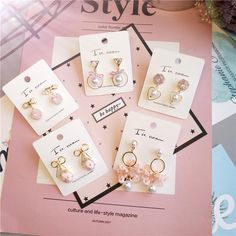 Korea Handmade Cute Imitation Pearl Heart Bowknot Women Drop Earrings Bangle Earrings Fashion Jewelry Outfit Accessories From Touchy Style Jewelry For Her, Cute Jewelry, Charm Jewelry, Jewelry Accessories, Fashion Earrings, Fashion Jewelry, Jewelry Trends 2018, Cute Earrings, Drop Earrings