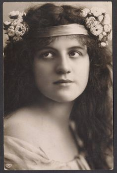 Vintage  art nouveau lady real photo postcard