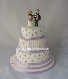 1st wedding cake of the new season, hearts, strips and hand made bride and groom topper.