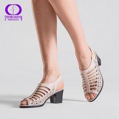 AIMEIGAO alta calidad Peep Toe mujeres gladiador Sandalias Zapatos de tacón  alto tacones gruesos verano suave d87b35a2f4ba