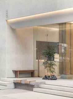 Interior Design Renderings, Cafe Interior Design, Cafe Design, Store Design, Yoga Studio Design, Spa Design, Form Architecture, Cafe Exterior, Tree Interior