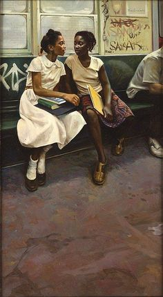 """augustfanon: """"Max Ginsburg. """"The Friends."""" Oil on Canvas [1981] """" Book cover art for """"The Friends"""" by Rosa Guy"""