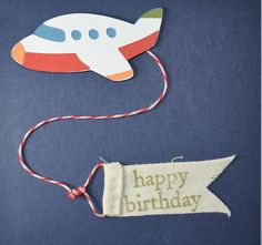 Jet Plane Happy Birthday Banner Card: perfect for the little (or big) boys in your life. $6 Kathie Chanda Cards @Kathie