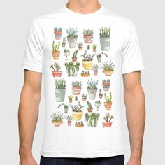 Potted Succulents T-shirt by Brooke Weeber. Worldwide shipping available at Society6.com. Just one of millions of high quality products available.