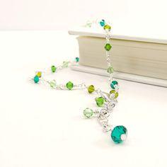 Green Beaded Anklet Swarovski Elements by ReneeBrownsDesigns, $15.00