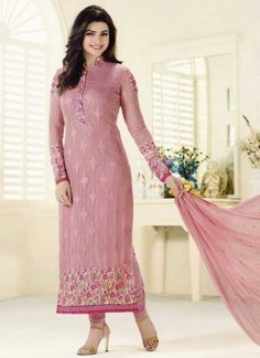 Buy Pink georgette embroidered semi stitiched salwar with dupatta party-wear-salwar-kameez online Pakistani Salwar Kameez Designs, Salwar Kameez Neck Designs, Ladies Salwar Kameez, Churidar Suits, Anarkali Churidar, Anarkali Suits, Indian Dresses, Indian Outfits, Indian Clothes