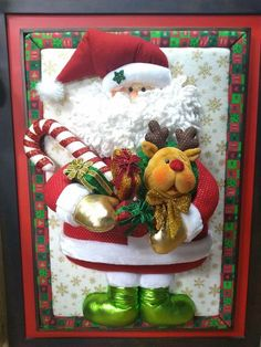 Santa y reno Advent Calendar, Diy And Crafts, Christmas Cards, Santa, Holiday Decor, Home Decor, Holiday Decorating, Christmas Ornaments, Christmas Quilting