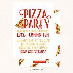 chalkboard pizza party invitation primary colors boy s