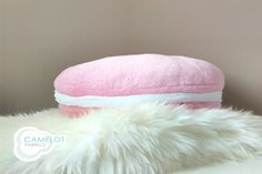 Macaroon shaped pillow - use coral fleece for softness.