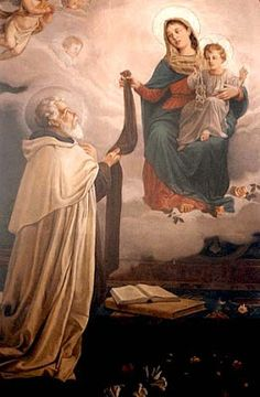 """purgatorialsociety: """" Our Lady of Mount Carmel giving the Scapular to Saint Simon Stock """" Divine Mother, Blessed Mother Mary, Blessed Virgin Mary, Catholic Art, Catholic Saints, Religious Art, Catholic Religion, Religious Pictures, Jesus Pictures"""