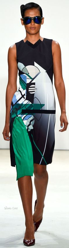 Bibhu Mohapatra S-16 RTW:  Abstract graphics, asymmetrical gusset. The green insert looks wonky at the top seam!