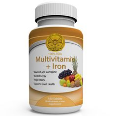 Multivitamin + Iron Daily Vitamins - This is a nicely balanced multivitamin supplement with the addition of iron