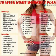Awesome weekly #workout plan for beginners men's and women's. No gym or equipment needed!