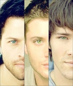 Supernatural Misha Collins Jensen Ackles Jared Padalecki - Oy those eyes are amazing! Sam Winchester, Familia Winchester, Winchester Supernatural, Winchester Brothers, Sam Dean, Dean Castiel, Jensen Ackles Jared Padalecki, Jared And Jensen, Jensen Ackles Young