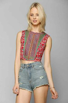 Staring At Stars Ikat Embroidered-Bib Tank Top - Urban Outfitters