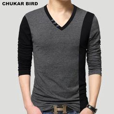 men's cotton t-shirts new arrival large size long sleeve patchwork slim T-shirt homme men clothing casual V-neck Tops & Tees Mens Cotton T Shirts, Polo T Shirts, Mens Tees, Shirt Men, Casual T Shirts, Casual Outfits, Men Casual, Dress Casual, Moda Junior