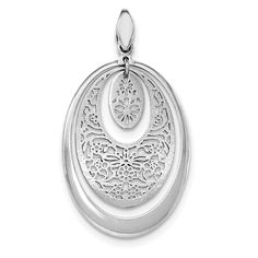 Sterling Silver Rhodium-plated Brushed/Polished Oval Pendant