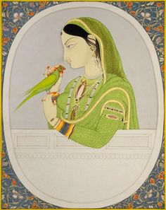 ATTRIBUTED TO SAJNU. LADY WITH A PARAKEET. Opaque watercolor and gold on paper, MANDI, ca. 1820, Sajnu was a master painter from Kangra who worked in the court of Isvari Sen, Raja of Mandi (r. 1788-1826), from 1800-20.