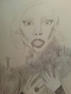 LADY GAGA AS THE COUNTESS - 2015 Black and white sketch on paper